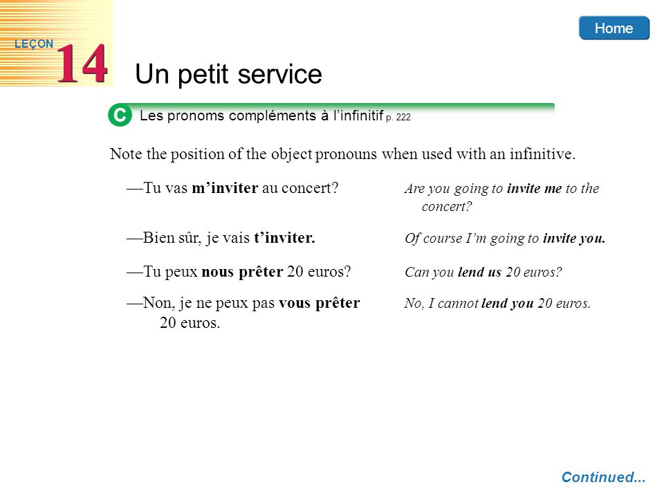 C Les pronoms compléments à l'infinitif p. 222. Note the position of the object pronouns when used with an infinitive.