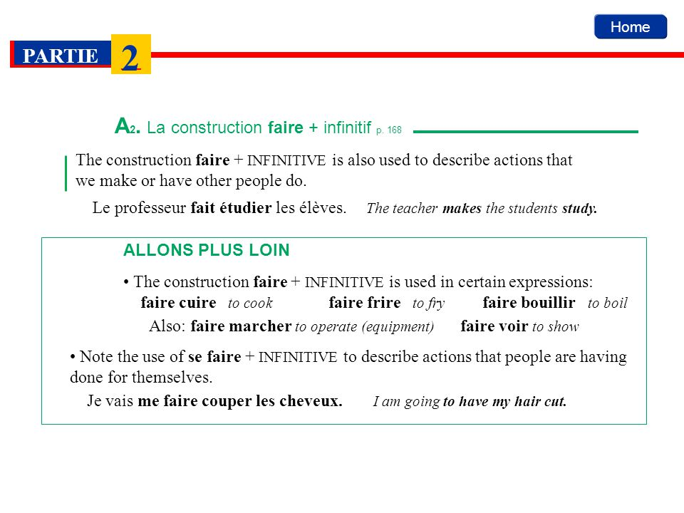 A2. La construction faire + infinitif p. 168