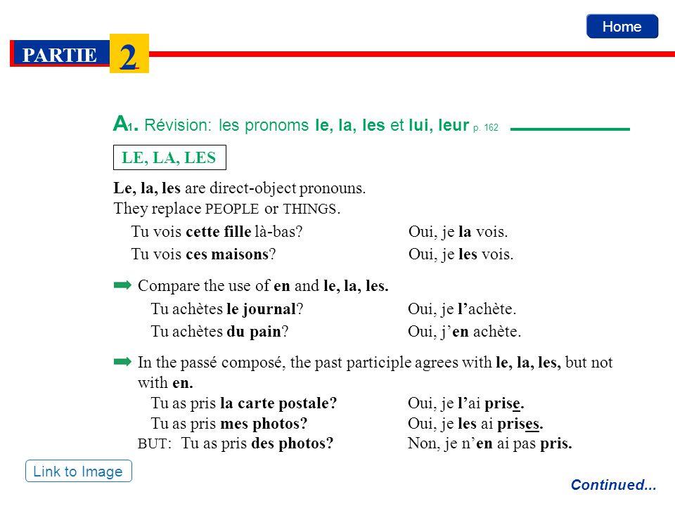 A1. Révision: les pronoms le, la, les et lui, leur p. 162