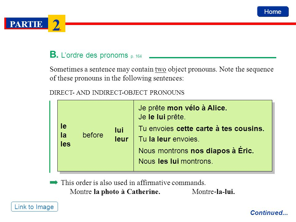 B. L'ordre des pronoms p. 164 Sometimes a sentence may contain two object pronouns. Note the sequence of these pronouns in the following sentences: