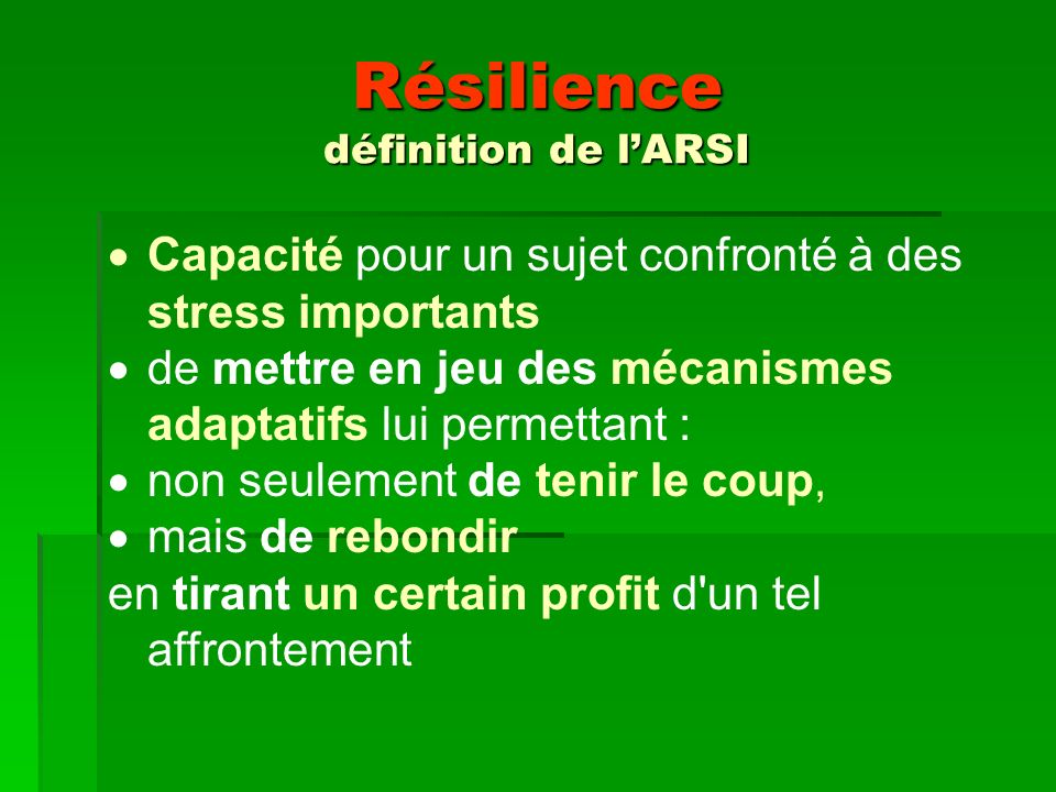 Résilience définition de l'ARSI