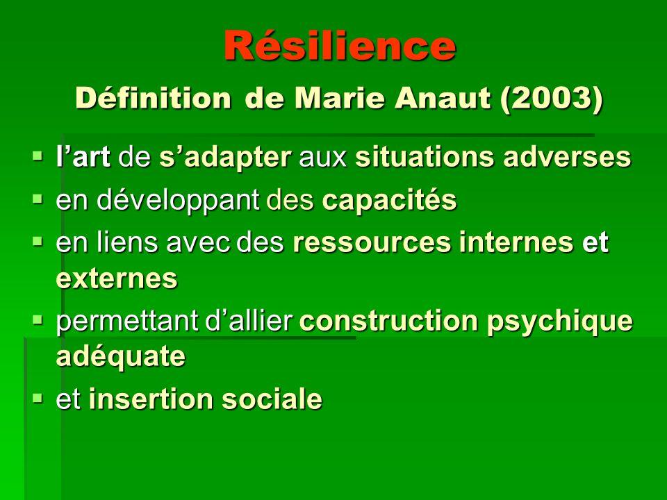 Résilience Définition de Marie Anaut (2003)