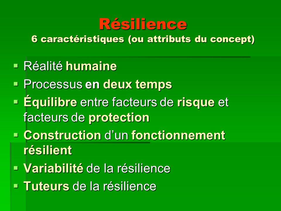 Résilience 6 caractéristiques (ou attributs du concept)