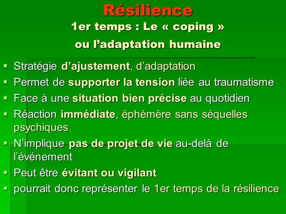 Résilience 1er temps : Le « coping » ou l'adaptation humaine