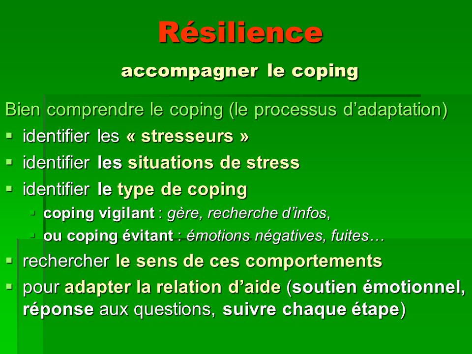 Résilience accompagner le coping