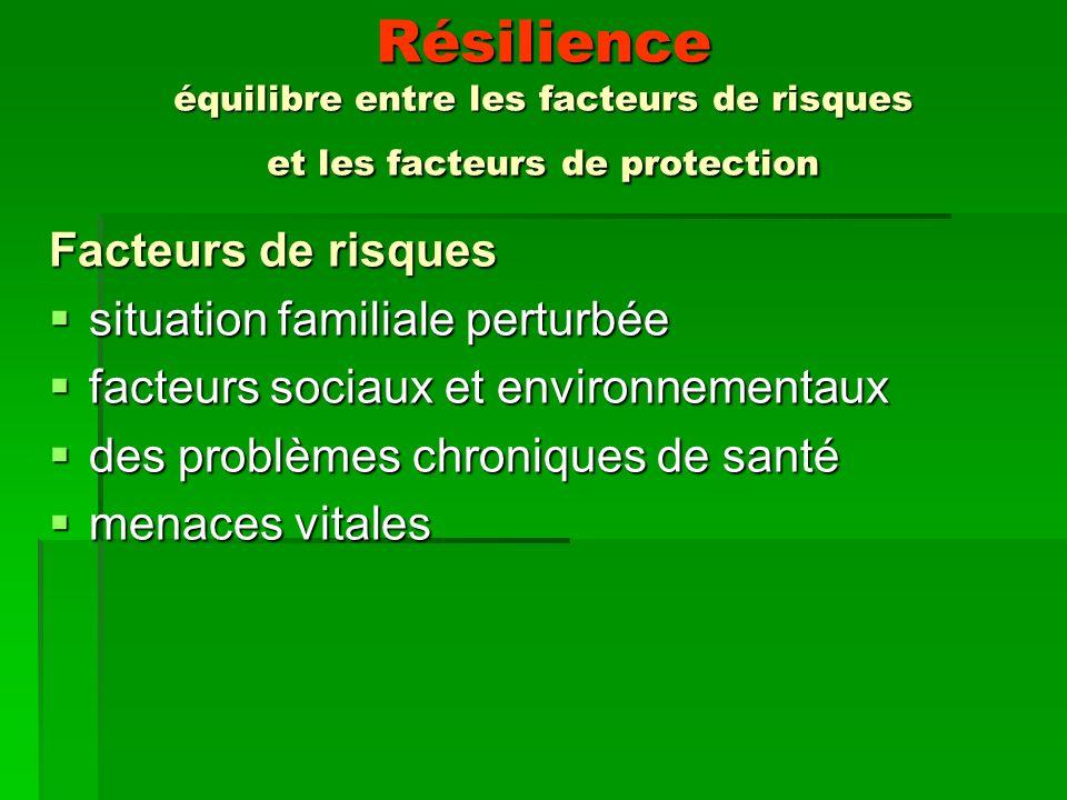 Résilience équilibre entre les facteurs de risques et les facteurs de protection