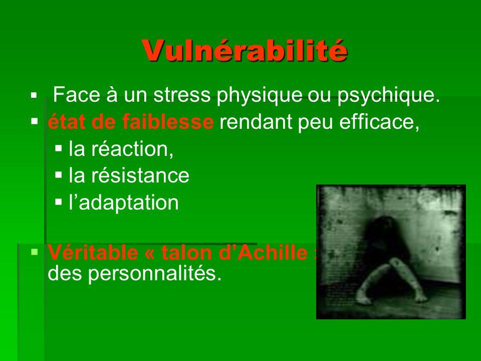Vulnérabilité état de faiblesse rendant peu efficace, la réaction,