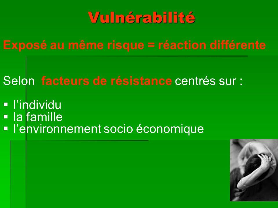 Vulnérabilité Exposé au même risque = réaction différente