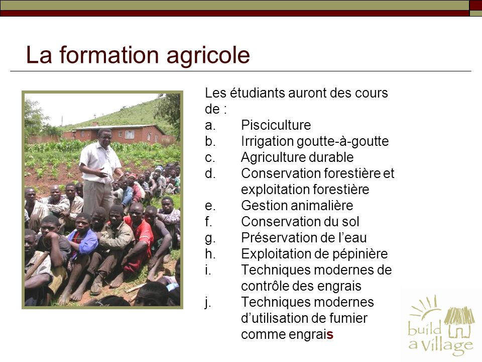 La formation agricole