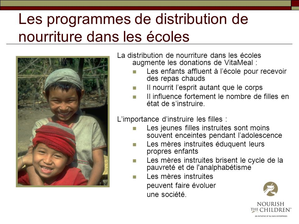 Les programmes de distribution de nourriture dans les écoles