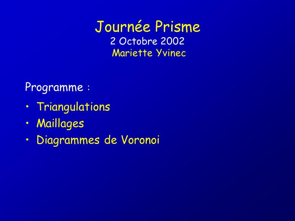 Journée Prisme 2 Octobre 2002 Mariette Yvinec
