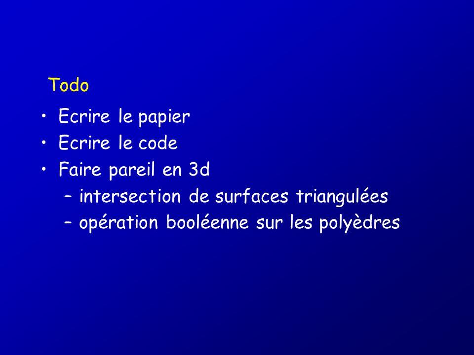 Todo Ecrire le papier. Ecrire le code. Faire pareil en 3d. intersection de surfaces triangulées.