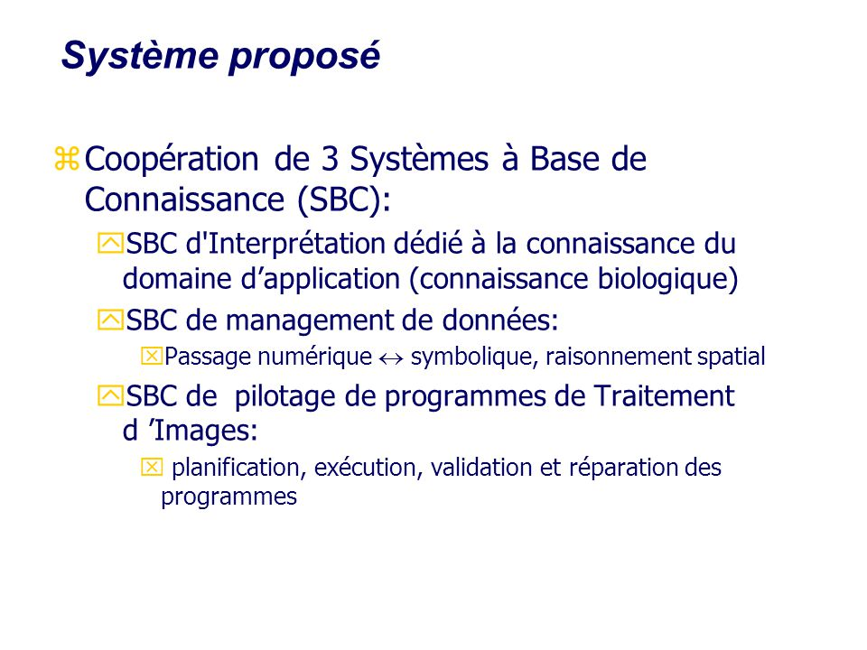 Système proposé Coopération de 3 Systèmes à Base de Connaissance (SBC):