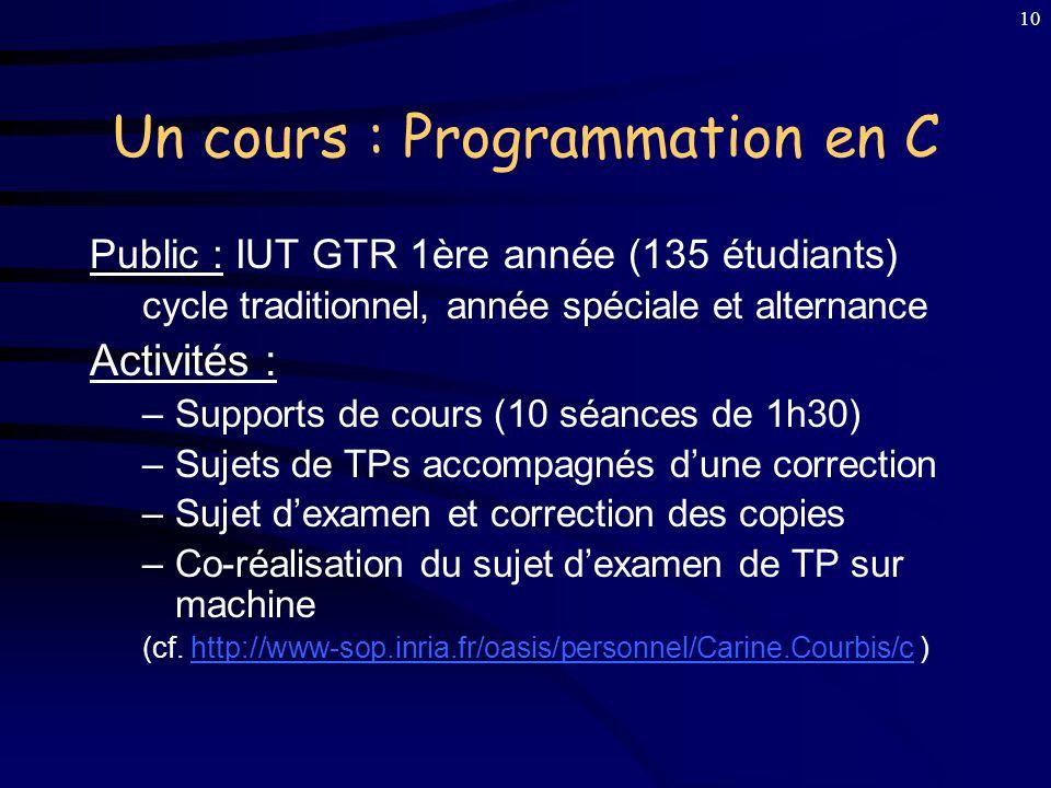 Un cours : Programmation en C