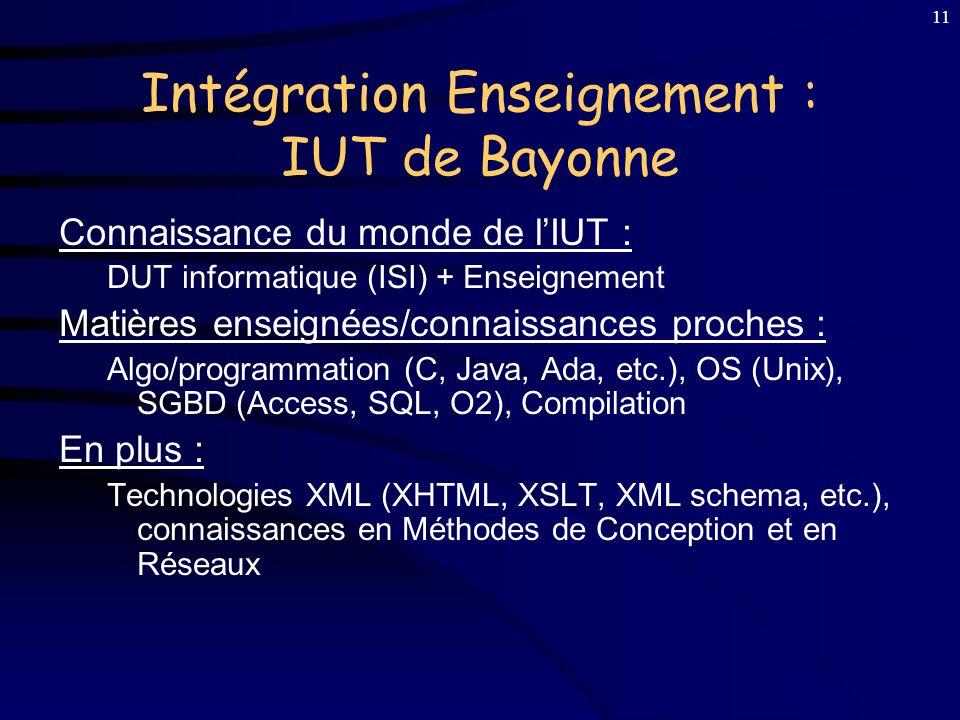 Intégration Enseignement : IUT de Bayonne