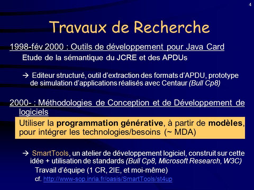 Travaux de Recherche 1998-fév 2000 : Outils de développement pour Java Card. Etude de la sémantique du JCRE et des APDUs.