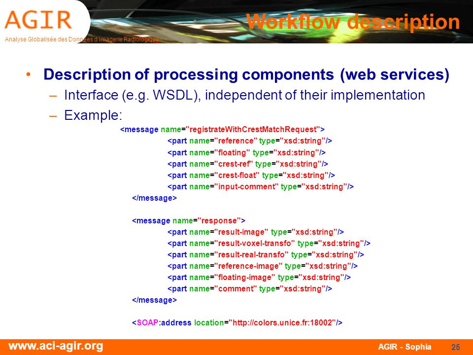 Workflow description Description of processing components (web services) Interface (e.g. WSDL), independent of their implementation.
