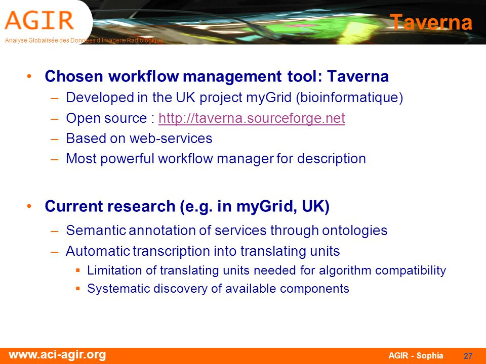 Taverna Chosen workflow management tool: Taverna
