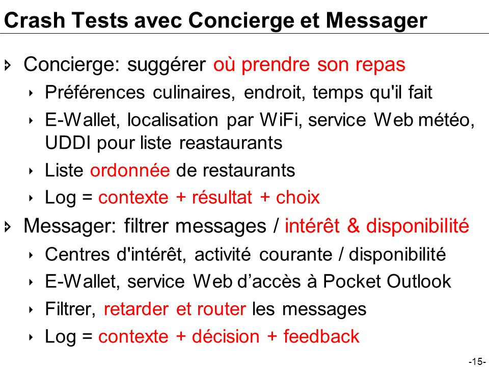Crash Tests avec Concierge et Messager