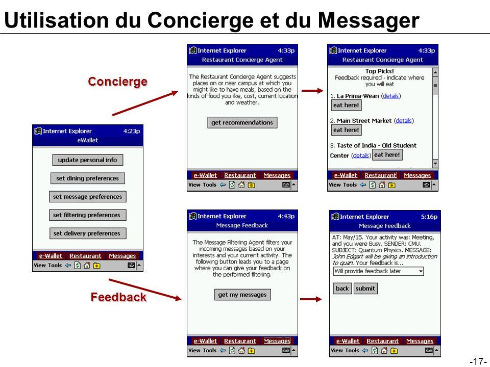 Utilisation du Concierge et du Messager