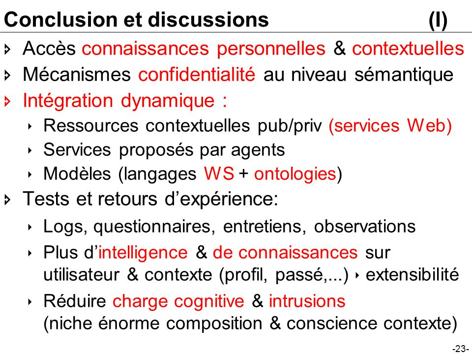 Conclusion et discussions (I)