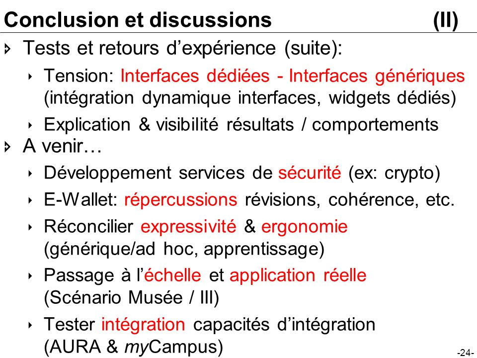 Conclusion et discussions (II)