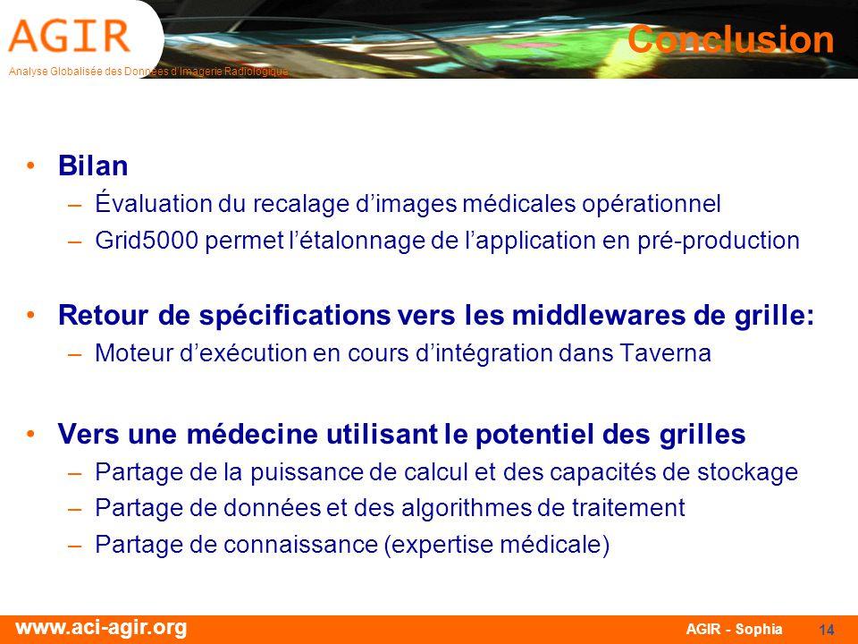 Conclusion Bilan. Évaluation du recalage d'images médicales opérationnel. Grid5000 permet l'étalonnage de l'application en pré-production.