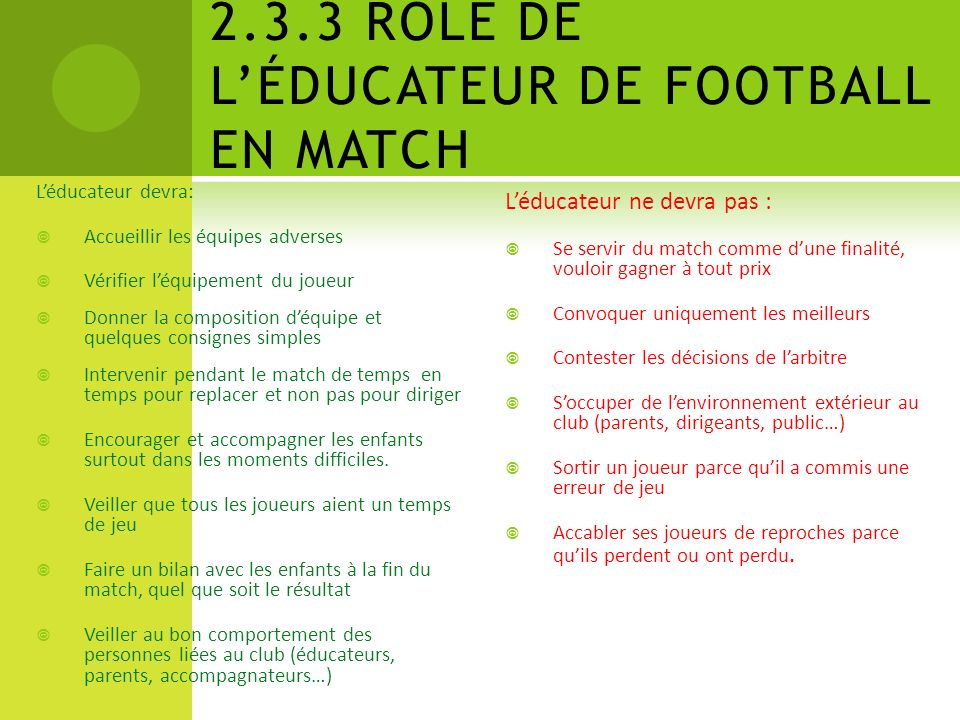 2.3.3 RÔLE DE L'ÉDUCATEUR DE FOOTBALL EN MATCH