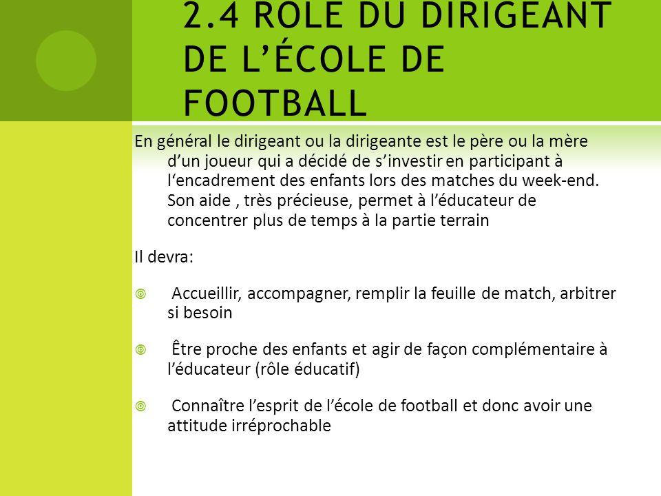 2.4 RÔLE DU DIRIGEANT DE L'ÉCOLE DE FOOTBALL