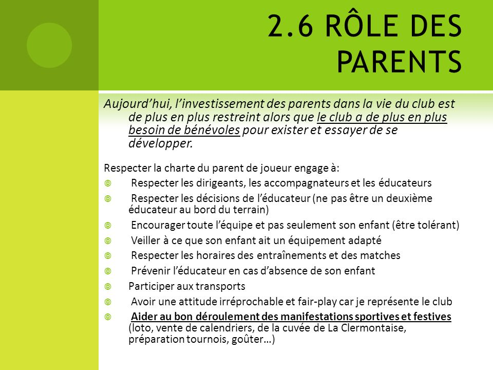2.6 RÔLE DES PARENTS