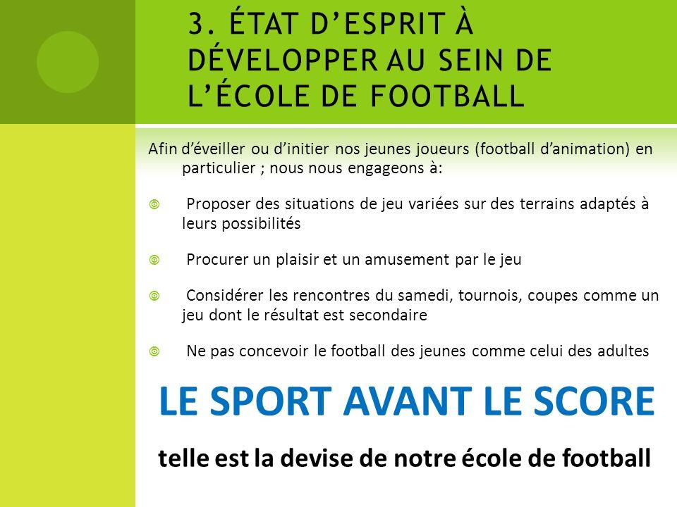 3. ÉTAT D'ESPRIT À DÉVELOPPER AU SEIN DE L'ÉCOLE DE FOOTBALL