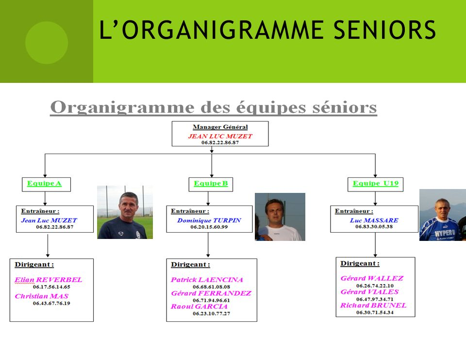 L'ORGANIGRAMME SENIORS
