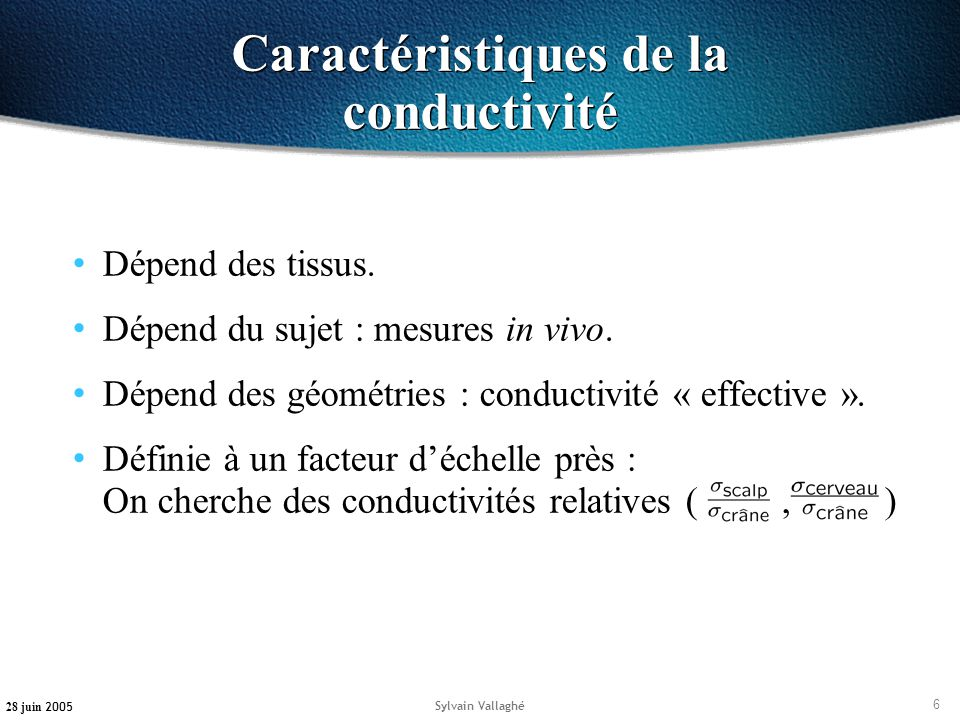 Caractéristiques de la conductivité