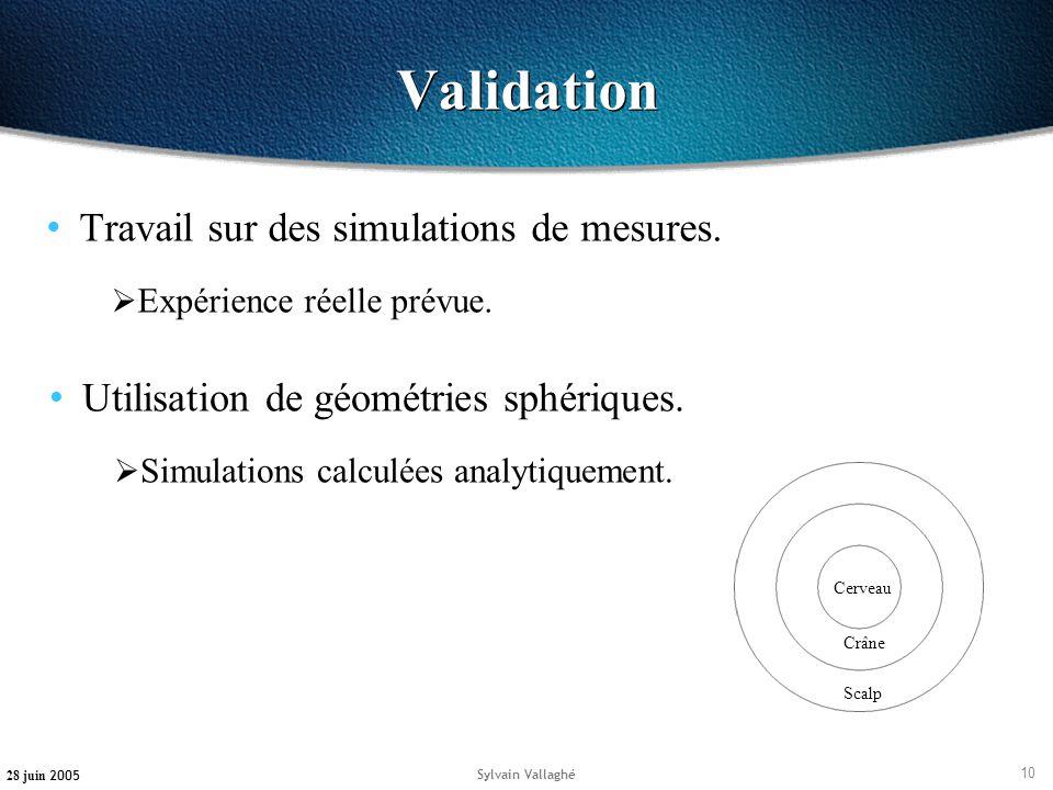 Validation Travail sur des simulations de mesures.