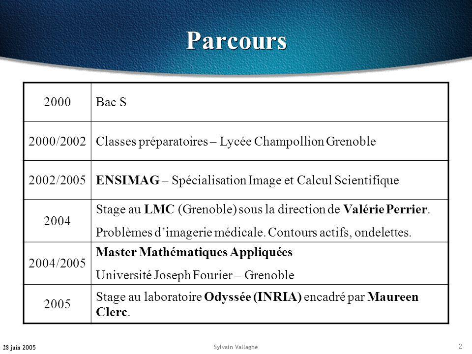 Parcours 2000. Bac S. 2000/2002. Classes préparatoires – Lycée Champollion Grenoble. 2002/2005.