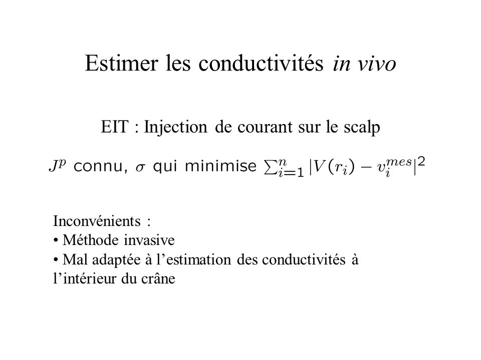 Estimer les conductivités in vivo