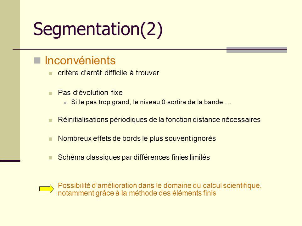 Segmentation(2) Inconvénients critère d'arrêt difficile à trouver
