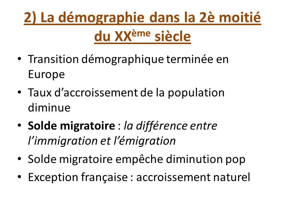 2) La démographie dans la 2è moitié du XXème siècle