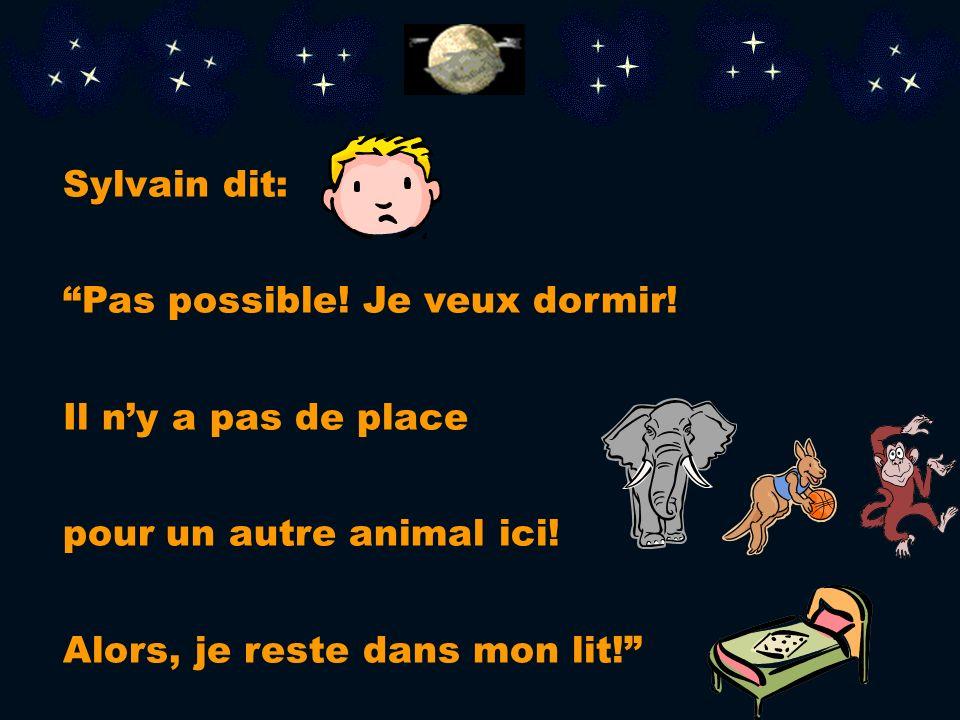 Sylvain dit: Pas possible. Je veux dormir. Il n'y a pas de place.