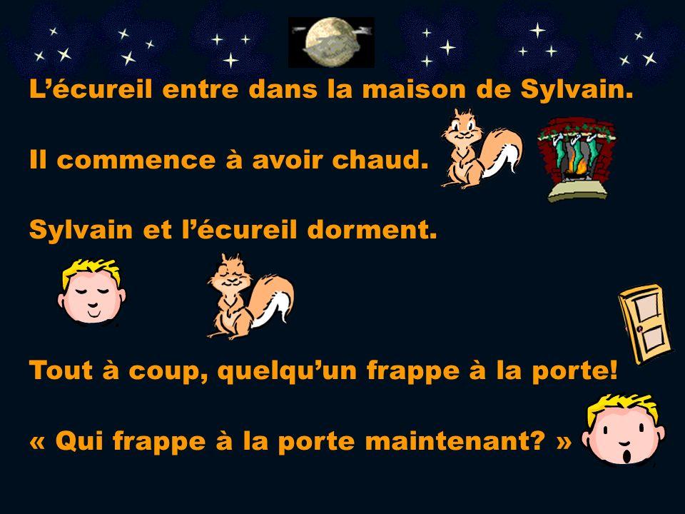 L'écureil entre dans la maison de Sylvain.