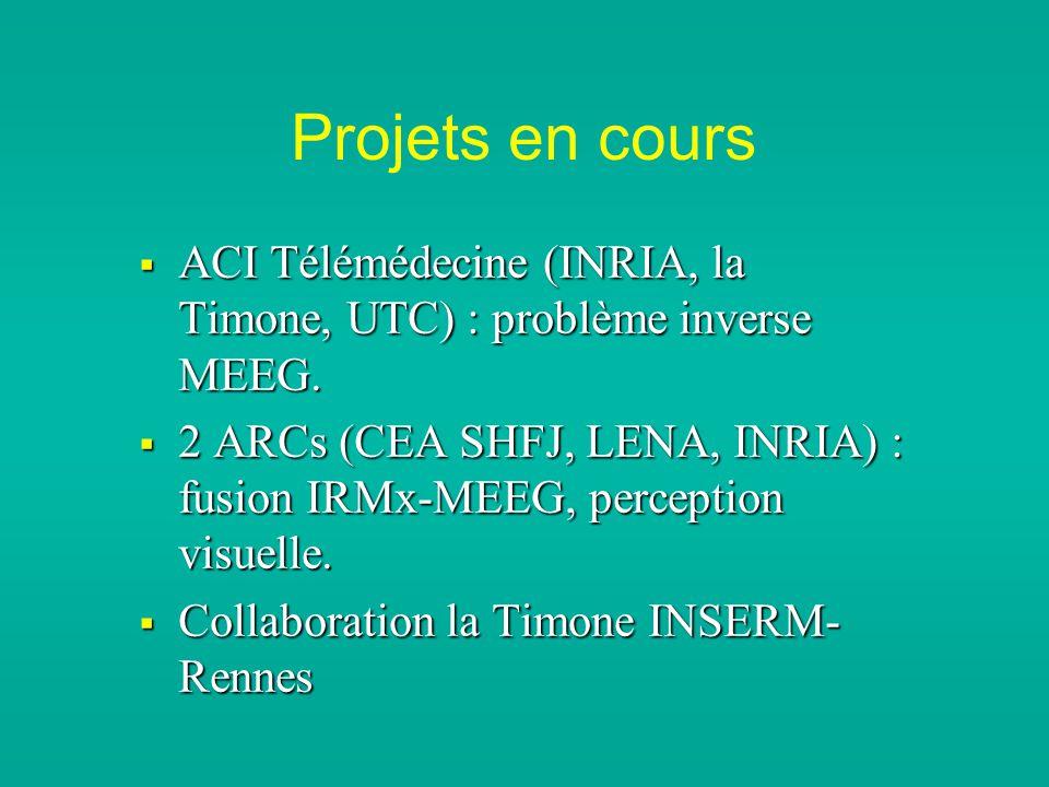 Projets en cours ACI Télémédecine (INRIA, la Timone, UTC) : problème inverse MEEG.