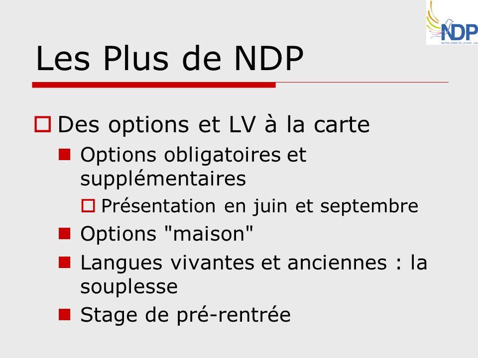 Les Plus de NDP Des options et LV à la carte