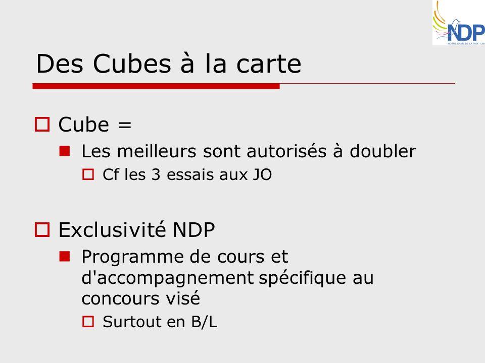 Des Cubes à la carte Cube = Exclusivité NDP