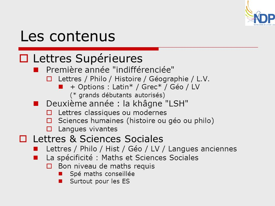 Les contenus Lettres Supérieures Lettres & Sciences Sociales