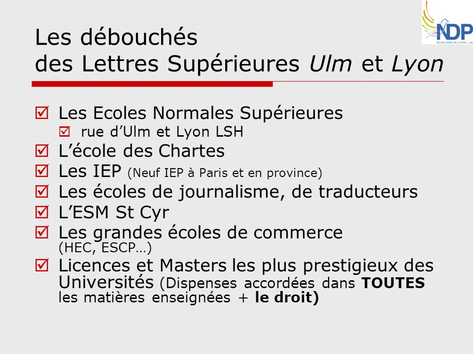 Les débouchés des Lettres Supérieures Ulm et Lyon