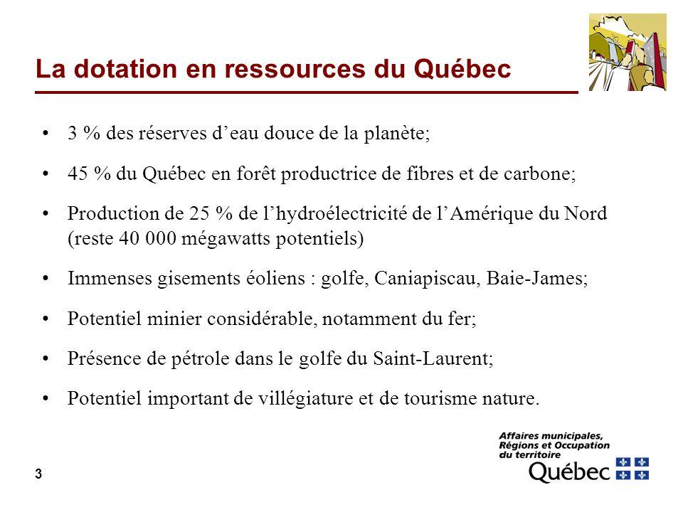 La dotation en ressources du Québec