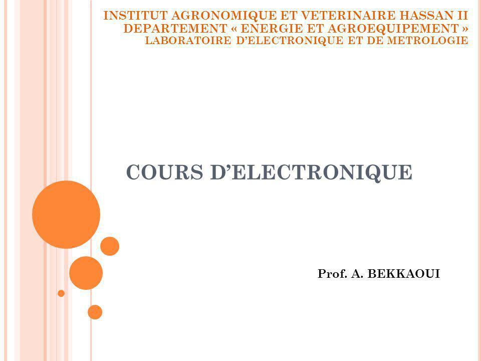 COURS D'ELECTRONIQUE INSTITUT AGRONOMIQUE ET VETERINAIRE HASSAN II