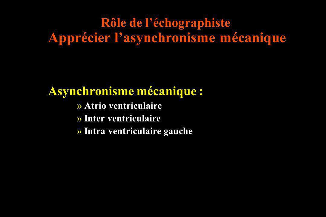 Rôle de l'échographiste Apprécier l'asynchronisme mécanique