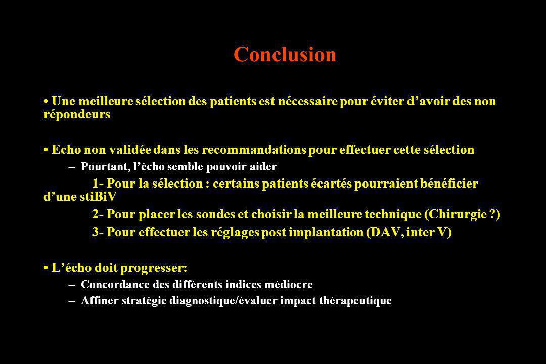 Conclusion • Une meilleure sélection des patients est nécessaire pour éviter d'avoir des non répondeurs.