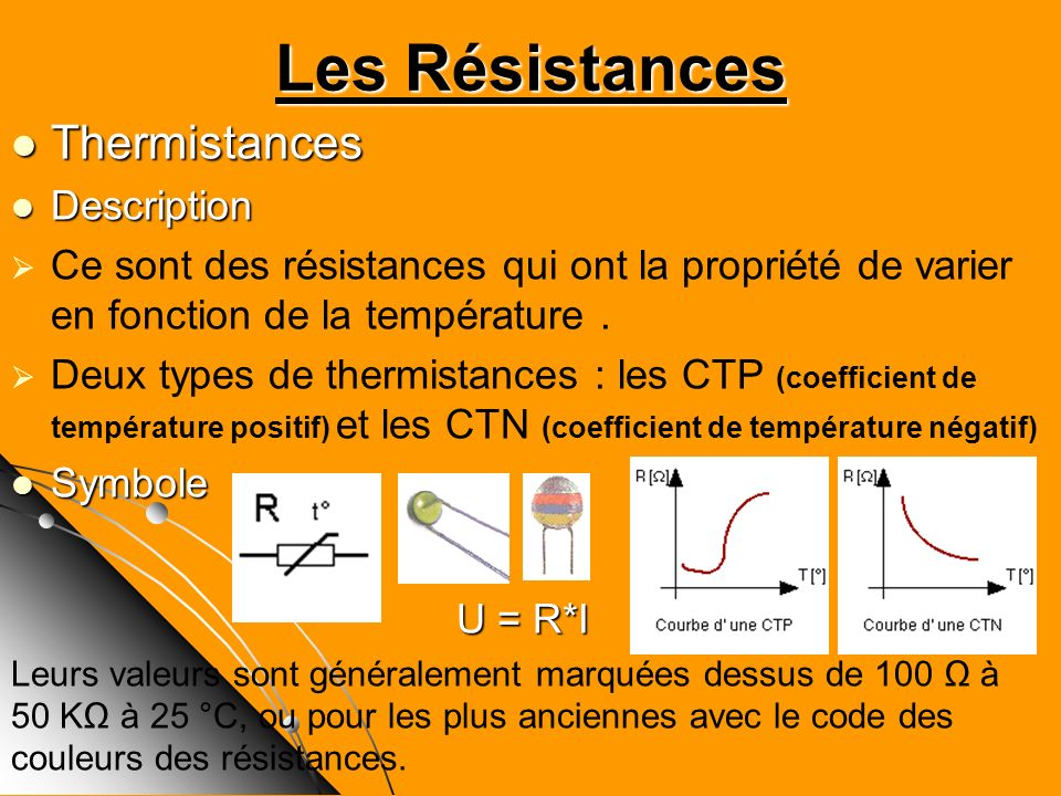 Les Résistances Thermistances Description